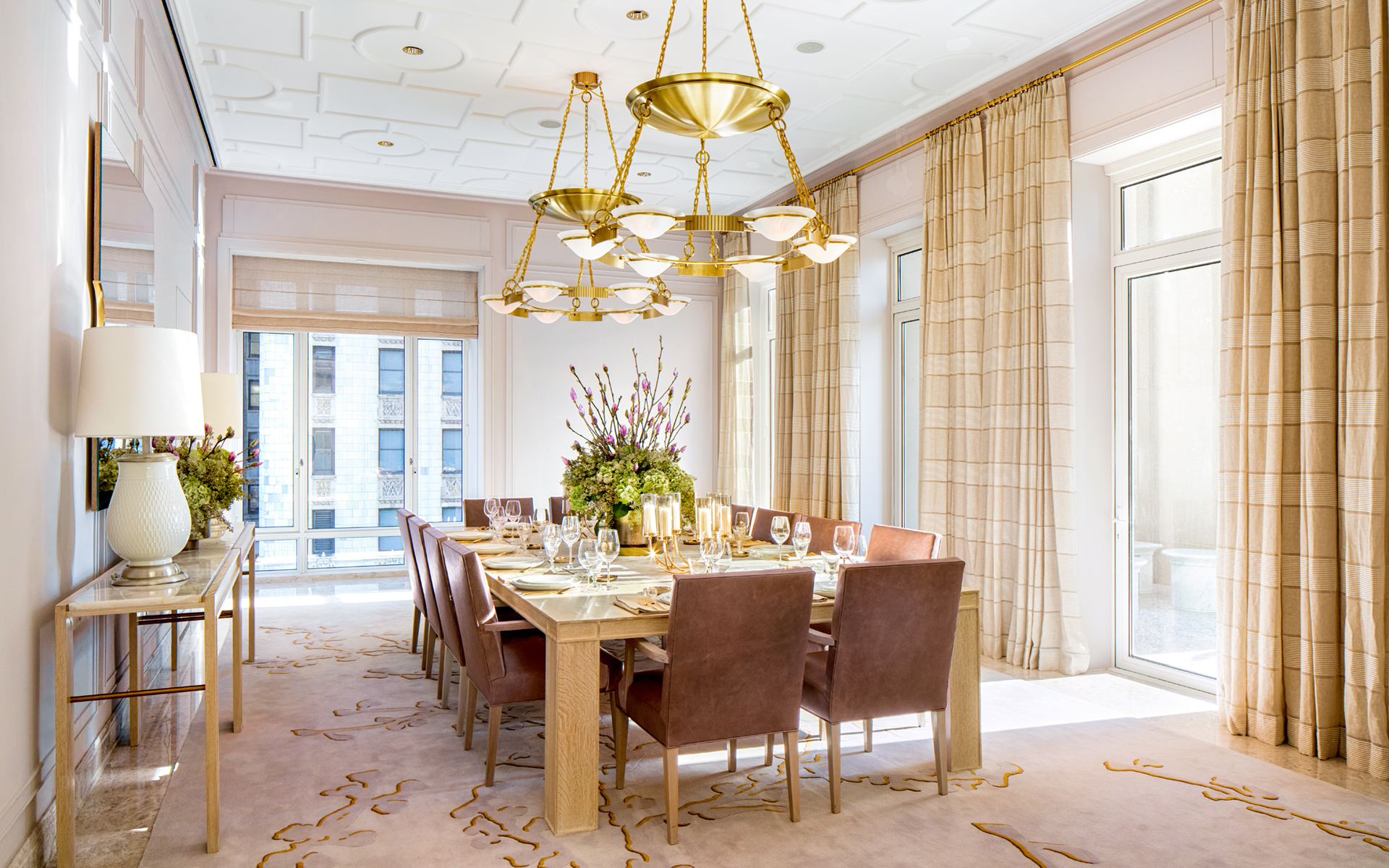 Private dining room with appliqué decorative ceiling, catering pantry, and adjacent loggia.