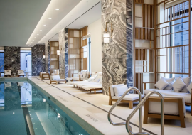 At 30 Park Place, handsomely appointed amenities serve as an extension of your own home and include a sunlit 75-foot pool with adjacent steam rooms and luxurious Four Seas
