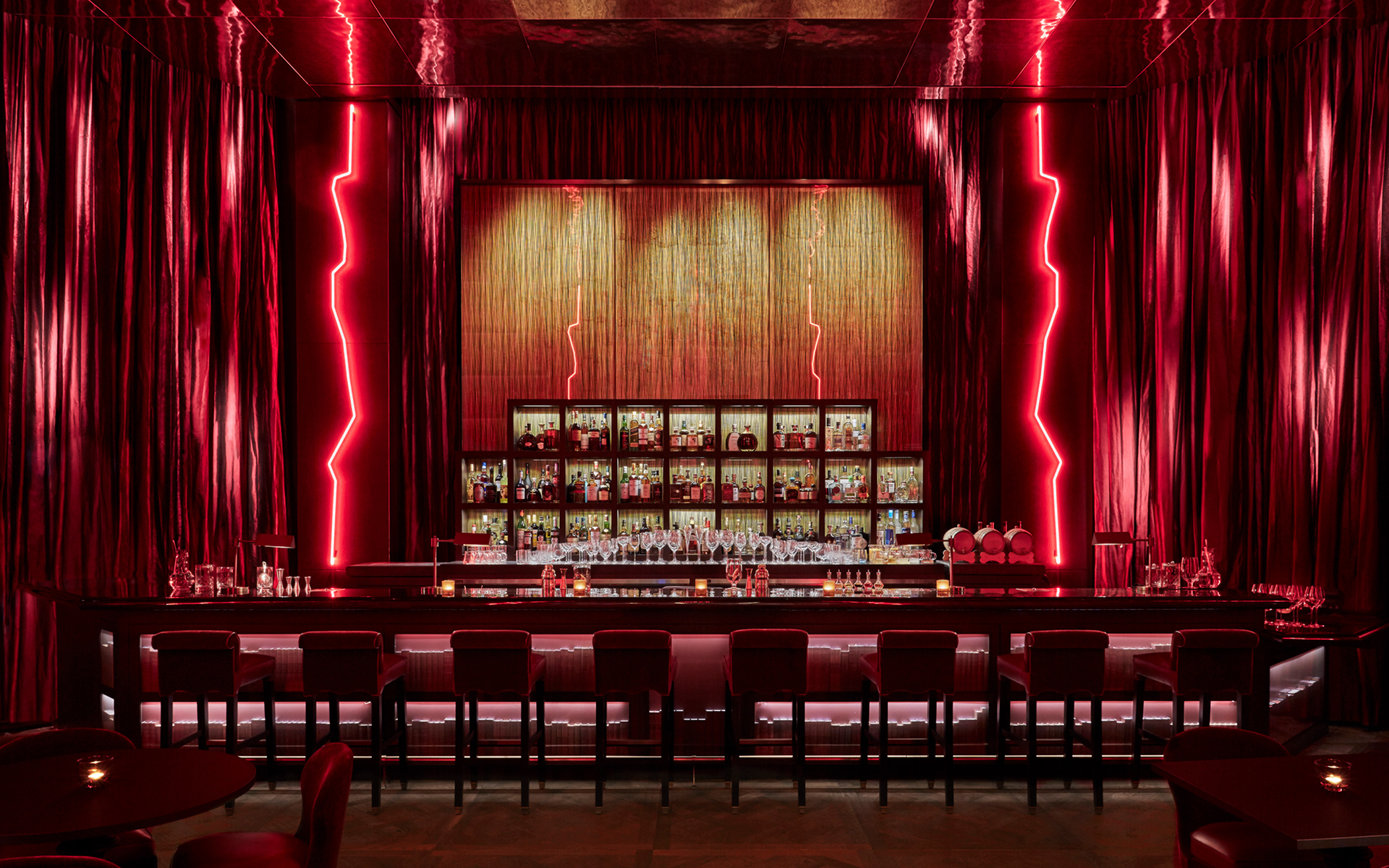 Nightclub bar with red accents