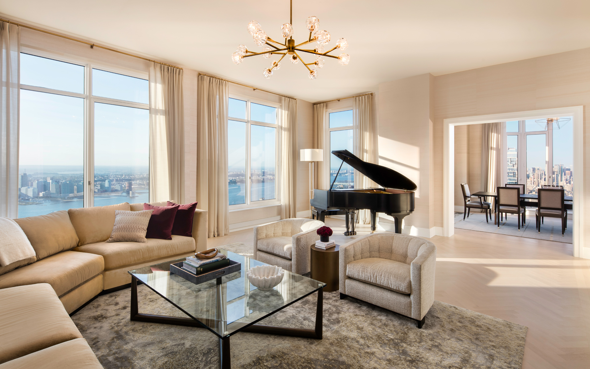 A furnished luxury residence at 30 Park Place with expansive views