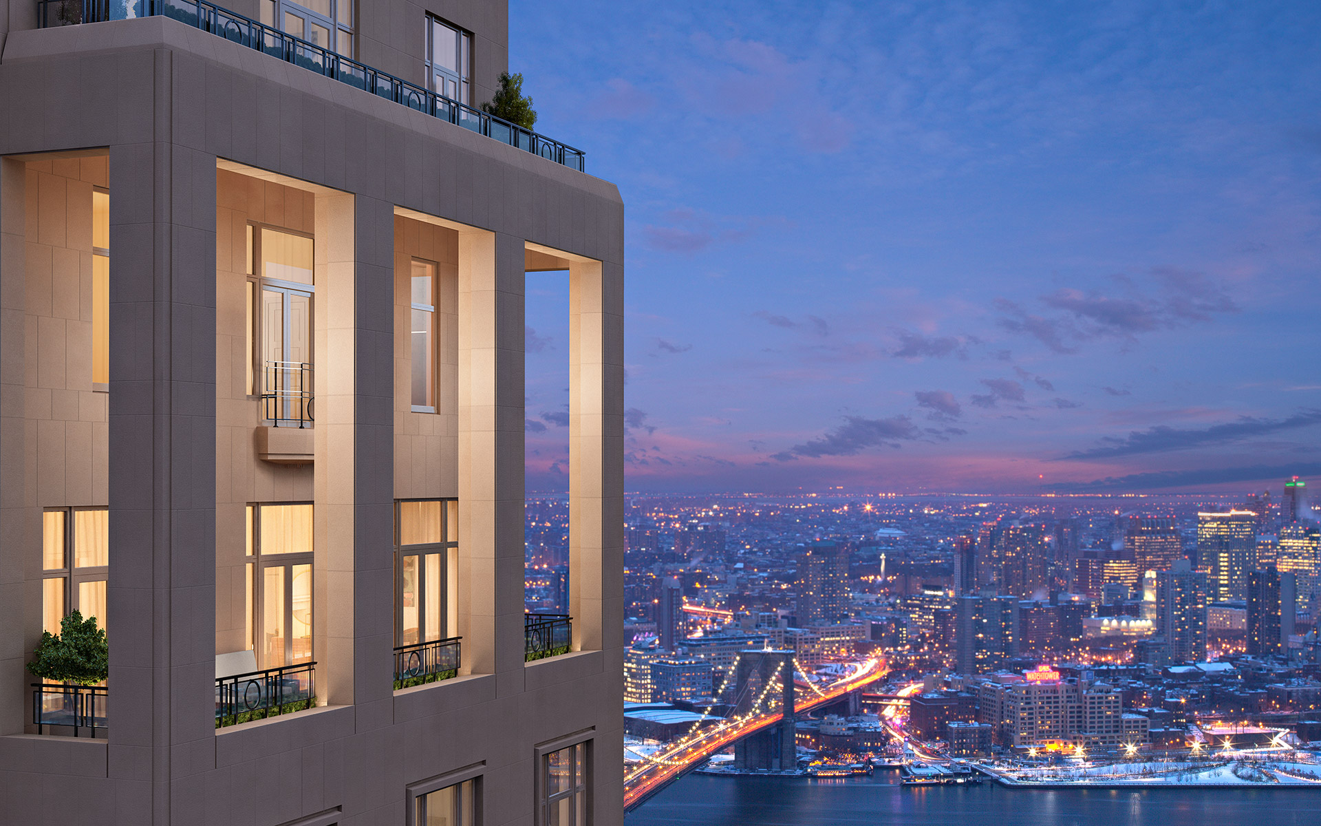 Exterior view of 30 Park Place overlooking the NYC skyline at sunset
